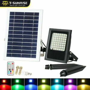 50W RGB LED Spotlight Outdoor Solar Power Security Flood Lights Garden W/ Remote