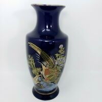 "10"" Vintage Cobalt Blue Porcelain Pheasants Flowers Japanese Vase"