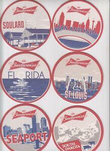 6 rare Budweiser / Anheuser-Busch coasters Bierdeckel (1)