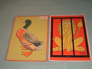 Vintage Milton Bradley Puzzle Set 2 Aptitude Tested Puzzles 1958 Duck 1971 Lion