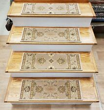 "Beige Stair Tread Set of 13 Traditional Non Slip Carpet Treads 26""x9"" Rug Depot"