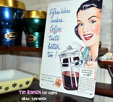 retro PYREX COFFEE POT tin SIGN glass percolator NEW vintage KITCHEN art advert