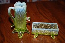 Vintage Northwood Yellow Opalescent Vaseline Glass Pump & Trough