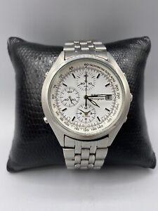 Seiko Alarm Chronograph Herrenuhr 7T32-7C60 Silber/Weiß