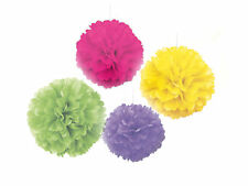 4 X grand papier fluo lumineux Moelleux Hanging Pom Pom Hawaiian | Mariage Décoration