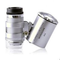 60X Handheld Mini Pocket Microscope Loupe Jeweler Magnifier With LED UV Light US