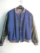 Trium Sports Vetements Varsity Jacket Blue/Black Wool/Leather w/Lining Men's L