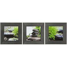 Wandbild 3er Set Kunstdruck je 23x23 cm Wellness Pflanze Steine grün schwarz