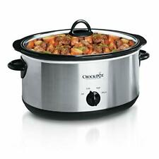 Portable Manual Slow Cooker Stainless Steel 7 Quart Oval Kitchen Appliances New