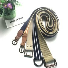 """Lot Of 5 Men's Woven Canvas Buckle Belt Waist band Straps Up To 44"""" Blue Tan A10"""