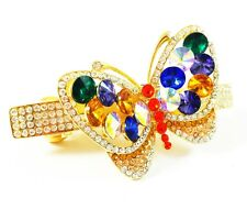 HAIR PIN Clip Crystal Swarovski Element Cubic Zirconia Butterfly Barrette Gold