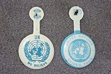 UN We Believe & United Nations Guided Tour Pin Back Set Blue White 1950-60 Rare