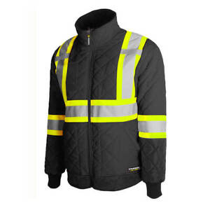 Terra 116505 Black Quilted Reflective Safety Freezer Jacket