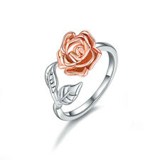 fashion simple Two Tone Silver Floral Rings 14k Rose Gold Flower Wedding Jewelry