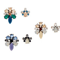 Vintage Women Crystal Resin Asymmetric Flower Ear Stud Earring Fashion Jewelry