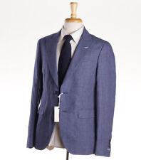 NWT $595 GANT RUGGER Blue Patterned Linen-Cotton Blazer Slim 38 R Sport Coat