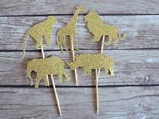10x Safari Animals Cupcake Toppers - Elephant, Lion, Giraffe Jungle Topper