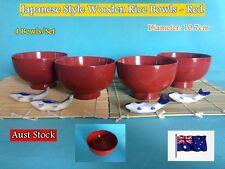 NEW Handmade Japanese Wooden Rice Bowls Dinner Set (Red) - 4 pcs/set (B166)