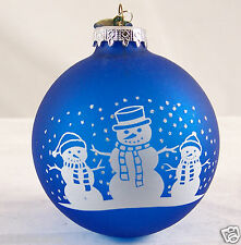 Vintage Bronner's Blown Glass Xmas Tree Ornament Snowman Blue White Silvertone