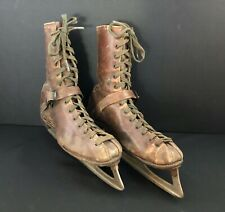 New listing Antique Decorative Display Brown Leather Ice Skates Unique Plaid Lining H U Co