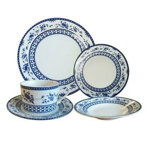 20 pcs DINNER SERVICE SET cup saucer bowl plate ceramic crockery blue