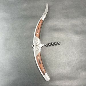 Laguiole L'Eclair Folding Corkscrew Bottle Opener Foil Cutter Stainless Wood VTG