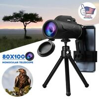80x100 Hunting Camping Optical Len Monocular Telescope Zoom HD Phone Clip+Tripod