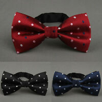 Men Jacquard Polka Dot Pre-tied Bow Tie Polyester Party Wedding Bowtie QNTIE0002