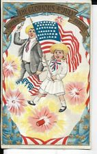 early fourth of july early flag and fireworks theme postcard