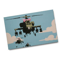 UK Graffiti Artist Bansky Helicopter With Pink Bowtie 11x17 Poster