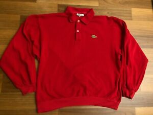 Vintage LACOSTE Polo Shirt | Size 4 | Medium M | Red Long Sleeve Made in France