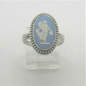 Vintage Wedgwood Sterling Silver Blue Jasperware Ceramic Porcelain Ring Size 7