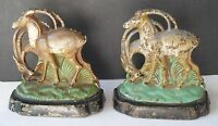 RARE BEAUTIFUL PAIR OF ANTIQUE HUBLEY IBEX CAST IRON BOOKENDS