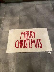 Rae Dunn 21x34 merry Christmas bath mat  Red Letters