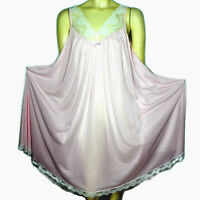 Vintage 80s Miss Elaine M Babydoll Nightgown Pink Nylon Full Sweep Union Made