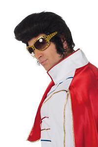 Hochwertige Elvis Perücke Tolle Koteletten schwarz Rockabilly Kostüm