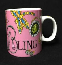 Savinio Designs Fashion Bling Design Porcelain Coffee Tea Mug  EUC