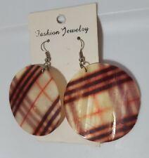 Vintage Plaid Round Shell Dangling Earrings Pierced Retro Jewelry #3