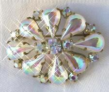 Vintage Brooch/Pin with Iridescent Teardrop Stones & Rhinestones
