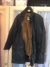 barbour border wax jacket Size42 Blue With Liner.