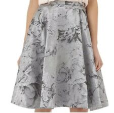 TED BAKER silver floral jacquard High Waist full Skirt Size 2 UK 10 BNWT Party