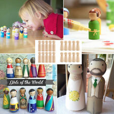 20pcs Blank DIY Wooden People Peg Dolls Wedding Cake Toppers Craft Chess Toys