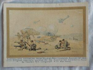7 WW1 Australian 1918 Comforts Fund Xmas & New Years card. Villers Brettonneux.