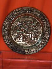 Brass Wall Hang Plate English Pub Scene 9�
