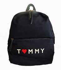 Tommy Hilfiger Navy Heart Canvas Back to School Travel Backpack Bag
