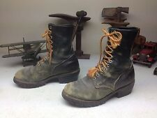DISTRESSED RED WING BLACK LEATHER ENGINEER LOGGER PACKER WORK CHORE BOOT 10 E