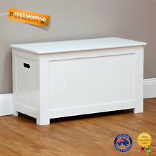 Wooden White Storage Bench Kids Toy Box Linen Chest Lift Up Lid Bedroom Bathroom