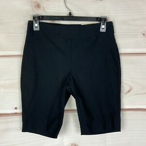 Charter Club Petite Pull-On Womens Size PS Stretch Solid Black Bermuda Shorts