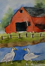 Original Aceo or Atc watercolor miniature painting - Barn and Geese