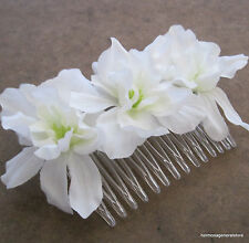 Triple White Apple Blossom  Silk Flower  Hair Comb,Bridal, Luau, Party,Wedding